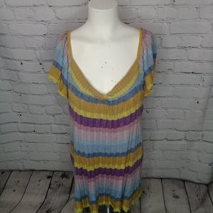 DKNY twisted scoop neck varied muted stripe Sz XL